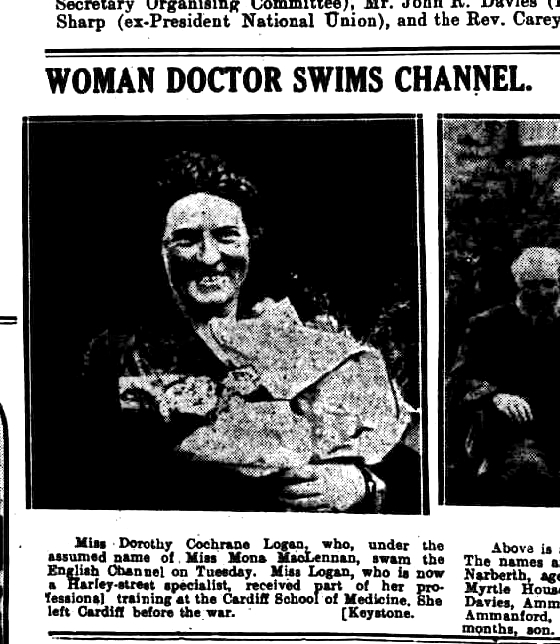 Woman Doctor Swims Channel - Western Mail 12 October 1927