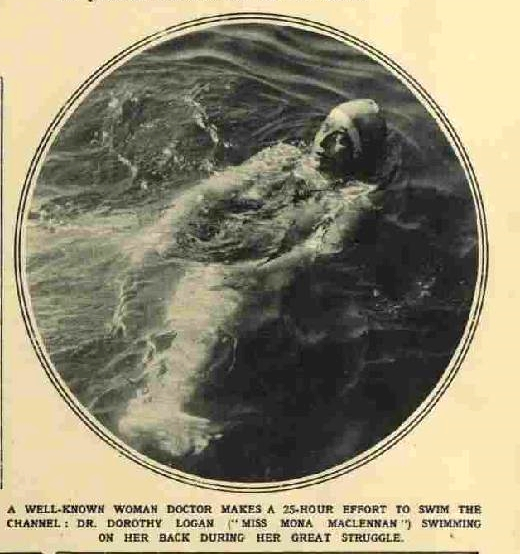 Logan backstroking  on her attempt - The Illustrated London News  Sept 25 1926