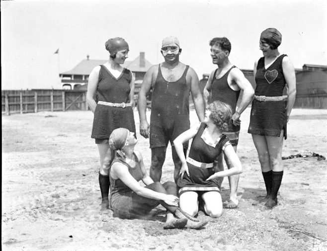 Charlie Toth and Bozo Snyders bathing girls at L Street bath house Boston