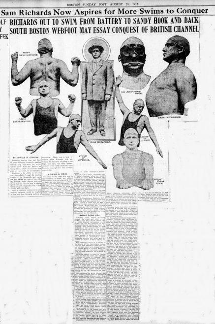 Richards may swim Channel - Boston Sunday Post 24/08/1913