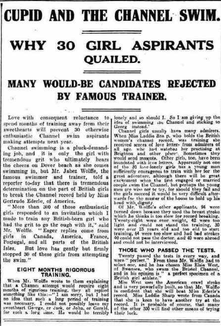 Wolffe and women Channel aspirants - The Lancashire Daily Post 23/12/1929