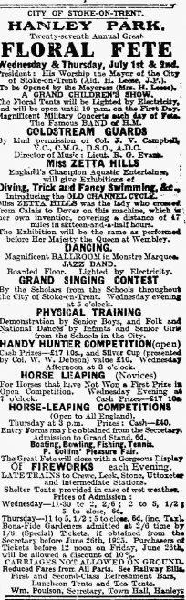 Zetta Hills, Hanley Park Floral Fete - The Staffordshire Sentinel 20/6/1925