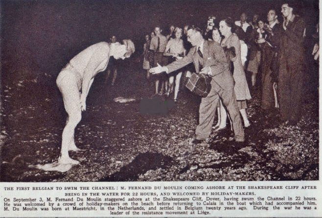 The first Belgian to swim the Channel, Fernand du Moulin, ashore at Shakespeare Cliff 1949
