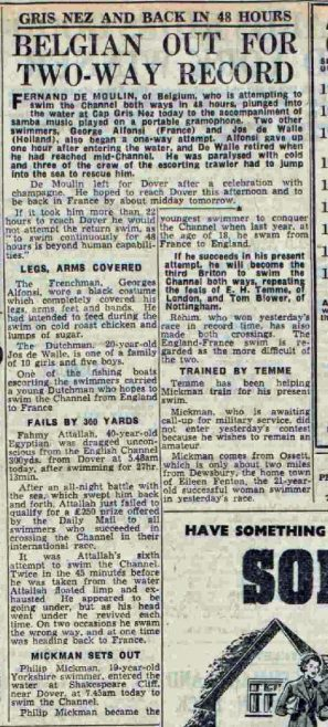 Two-way record and other attempts - Daily Mail 23/8/1950
