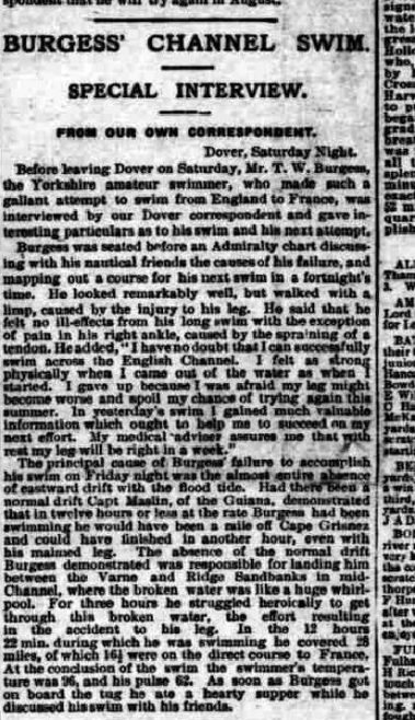 Interview with Burgess - Sporting Life 31/7/1905
