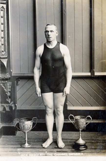 Jack Haggerty, Channel Swimmer with Swimming Cups c.1904