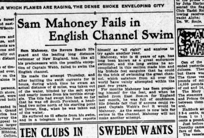 Boston Sunday Globe reports Mahoney's failure of 10/09/1908