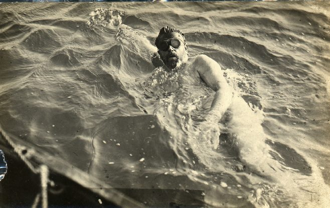 Burgess swimming the channel