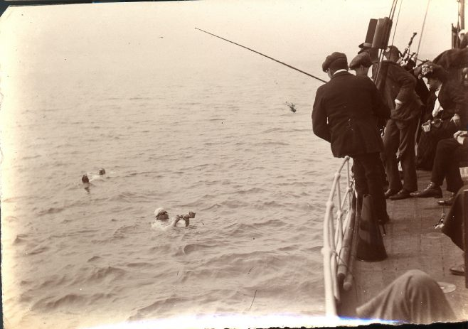 Channel Swimmers Stearne and Wolffe being fed in rough water
