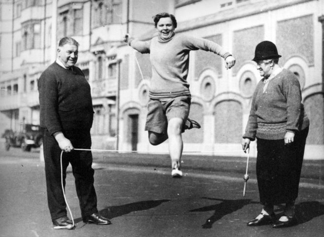 Sunny Lowry training at Hove with Mr and Mrs Wolffe March 1932