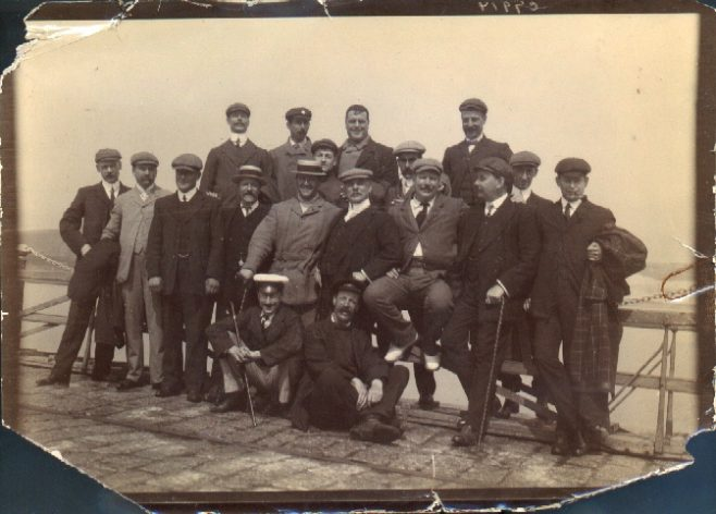 Jabez Wolffe with 1907 Channel swimming support team