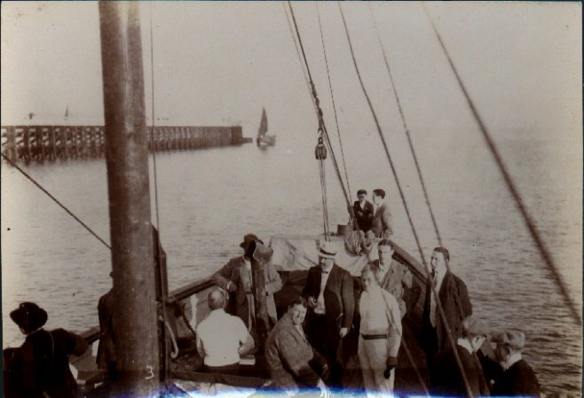 Jabez Wolffe and crew steaming out of Calais Harbour