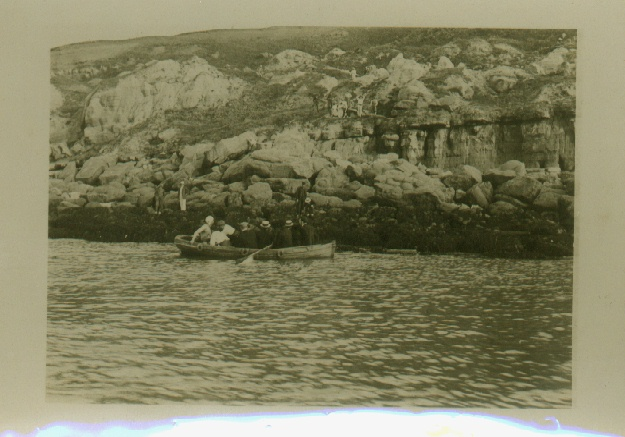 Channel Swimmer Montague Holbein with support boat at Cape Griz Nez.