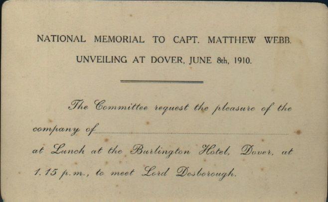Invitation to unveiling of Capt. Webb memorial