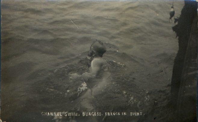Channel swimmer T.W. Burgess nearing France