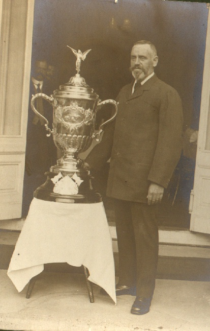 T.W. Burgess with Channel Swiming trophy