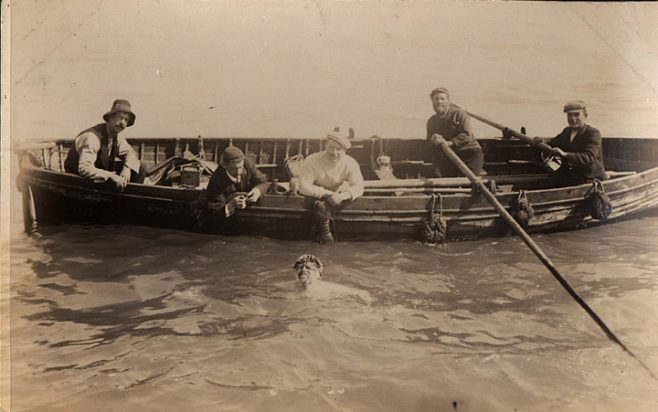 Channel Swimmer T.W. Burgess with his Team