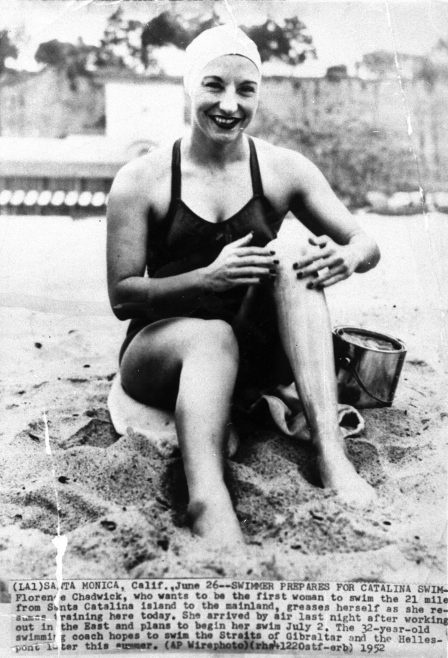 Florence Chadwick prepares for Catalina swim