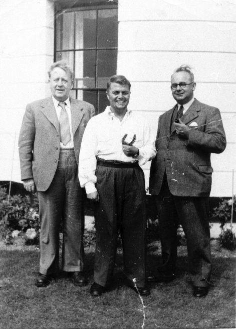 Philip Mickman with Gladstone Moorhouse (Mayor of Ossett)  and S.E. Bickle other