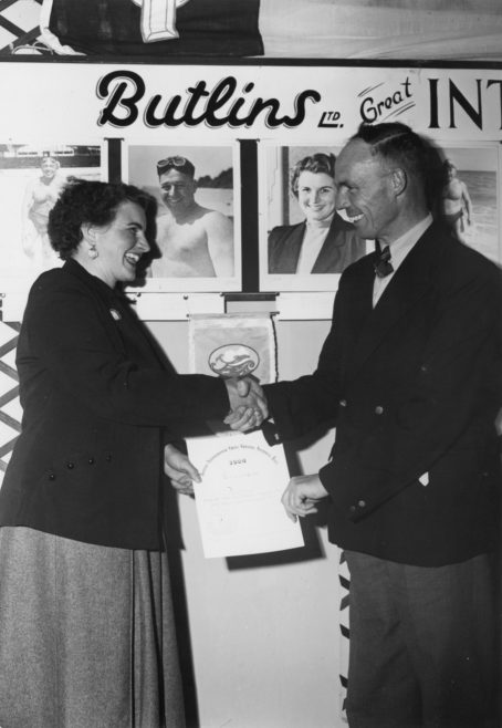 Margaret Feather being presented by MacKay