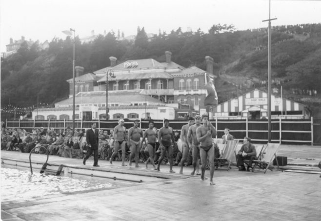 Parade of the male swimmers at the Folkestone Pool.