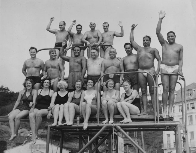 Swimmers in the 1951 Daily Mail Race