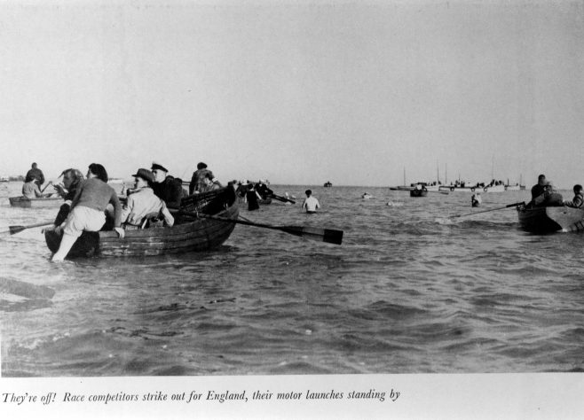 Photograph of people starting a channel swim competition
