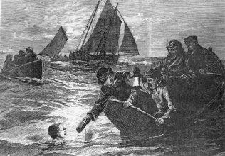 Drawing of Feeding Captain Webb on Cross-Channel Swim