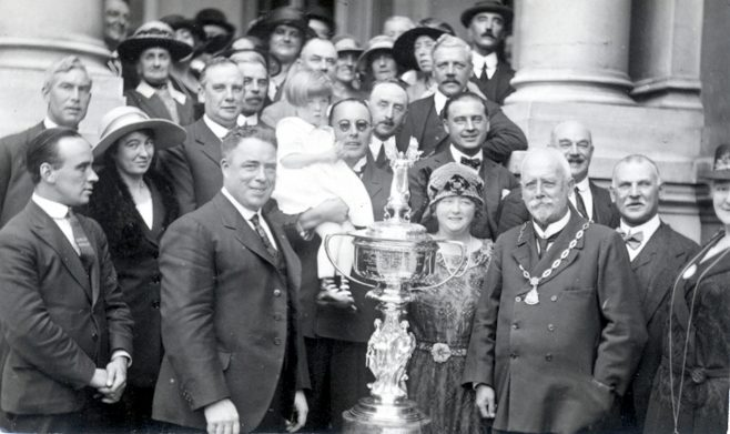 Mr Sullivan receiving his trophy for swimming the Channel in 1923.