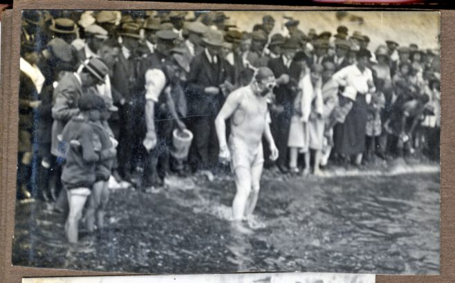 Photograph of S. Richards of USA at the start of channel swim