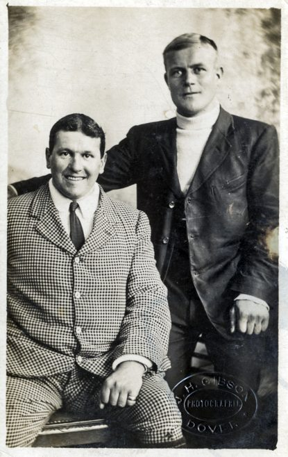 Photograph of Channel Swimmer Jabez Wolffe and trainer Billy Kellingley