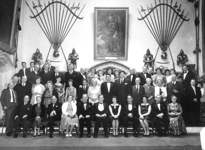 Photograph of Large Group of C.S.A. (Channel Swimming Association) members at the Town Hall