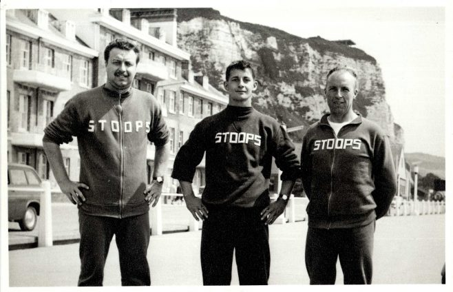 Three Men on Dover Seafront Wearing 'Stoops' Tops (unidentified)