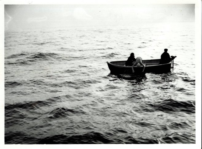 Man Diving into Water from Small Boat Roy Pitt (unidentified)