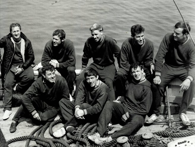Group of Male Swimmers in a boat (unidentified)