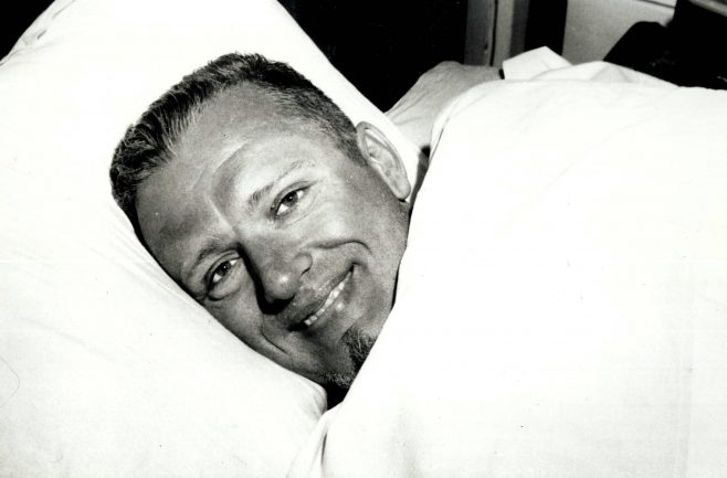 Ted Erikson in Bed after his two way swim