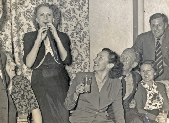 Florence Chadwick and friends on an evening out, Dover