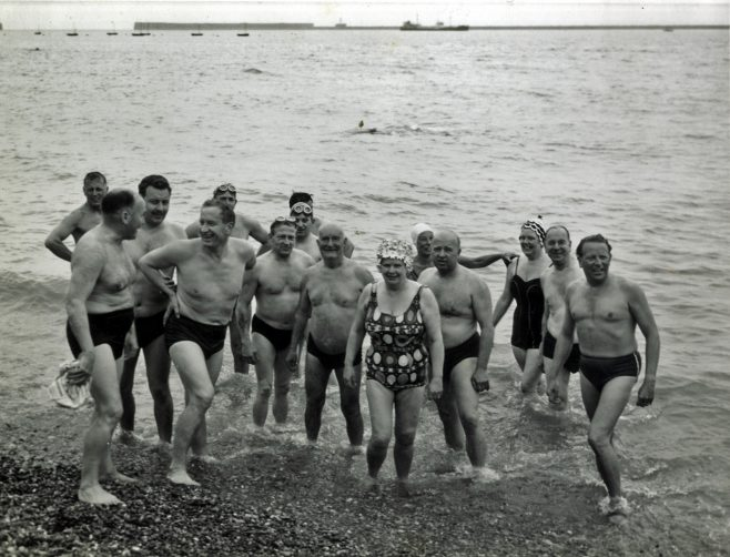 Group of Swimmers on Dover Beach. CSA AGM 1964
