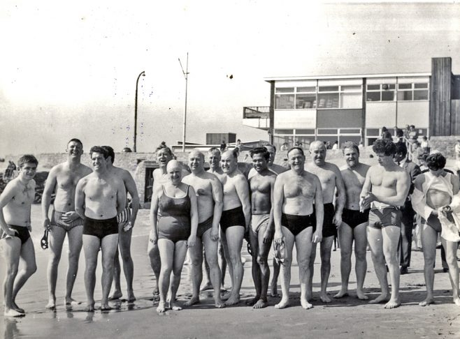 Group of CSA swimmers on Folkestone Beach