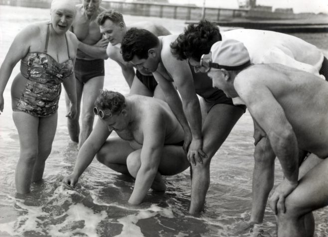 Channel Swimmers on Dover Beach