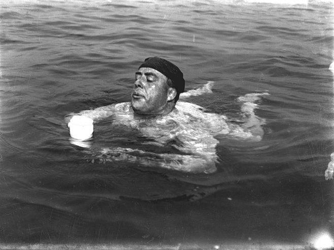 Channel swimmer Henry Sullivan taking a drink