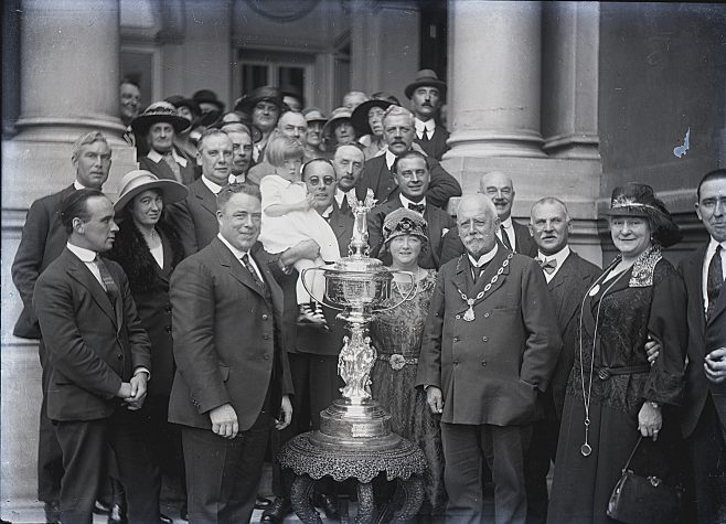 Mr Sullivan receiving his trophy for swimming the Channel in 1923. savoy Hotel