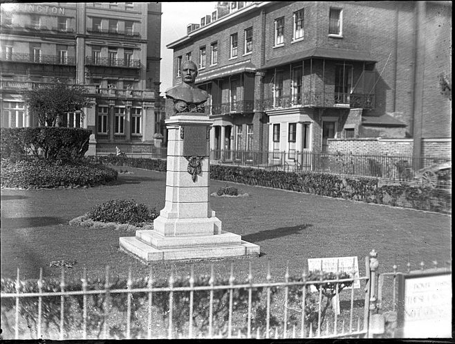 Glass Negative of the Capt. Webb memorial at Clarence Lawn, Dover.
