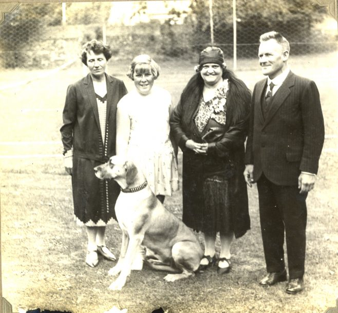 Joan Brunton with trainer Billy Kellingley, Mrs Huddlestone, and others