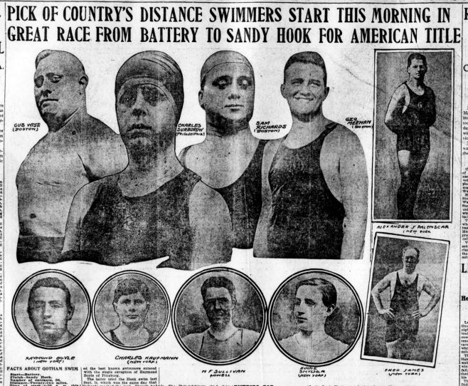 Competitors in Battery to Sandy Hook race, USA - Boston Sunday Post 19/7/1914