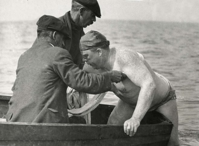 American swimmer Sullivan gives up attempt to swim the channel, two miles off Blanc Nez, France 1920