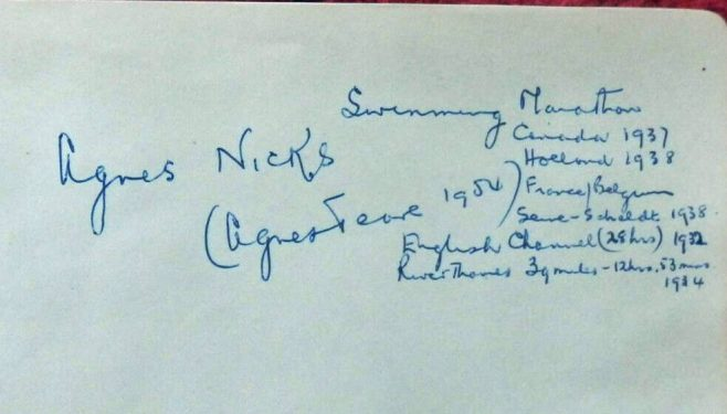 Self-annotated autograph of Agnes Nicks c.1954