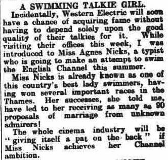 Nicks works for Western Electric sound studios - The Fife Free Press 19/4/1930