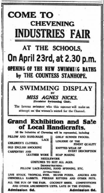 Advert for Chevening Industries Fair, opened by Nicks - The Chronicle and Courier18/4/1930