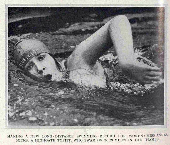Nicks swims Teddington Lock -Waterloo Bridge - The Illustrated Sporting and Dramatic News 3/8/1929